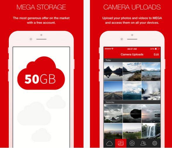 Capture d'écran MEGA iOS
