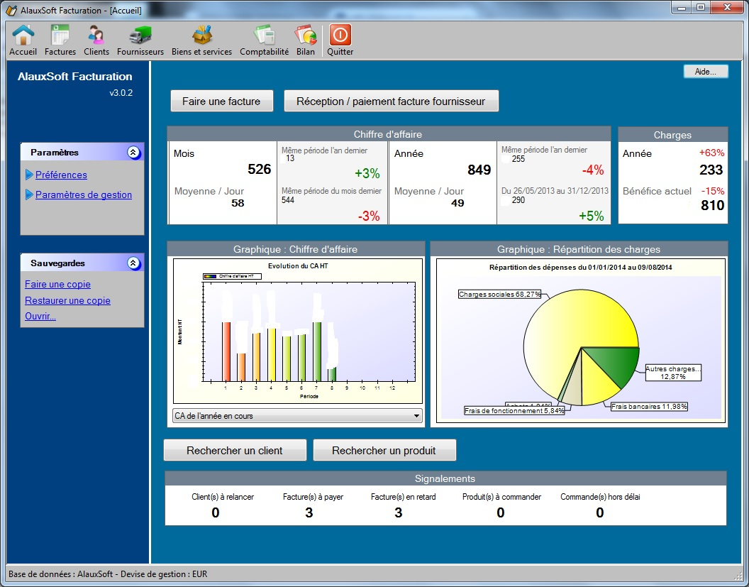Capture d'écran AlauxSoft Facturation v5.2.1