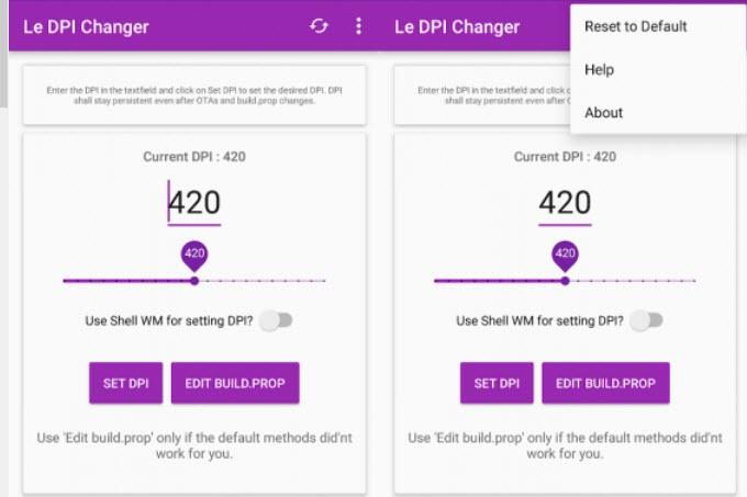 Capture d'écran Le DPI Changer Android
