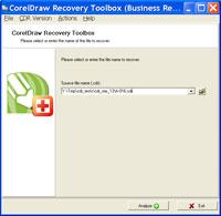 Capture d'écran CorelDraw Recovery Toolbox