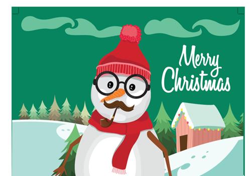 Capture d'écran Carte de Noël 2018 avec bonhomme de neige au format Word