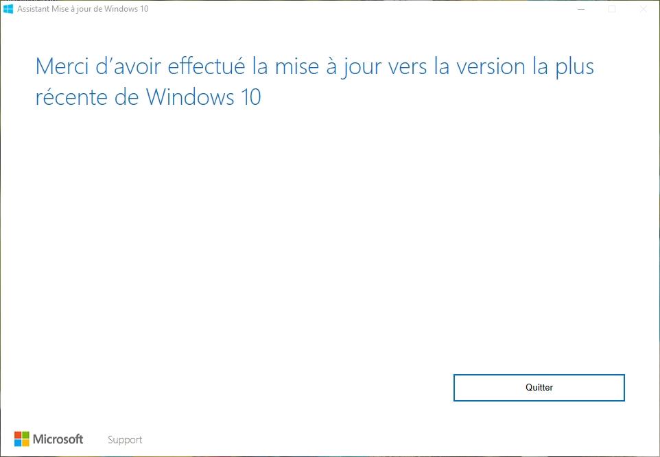 Capture d'écran Assistant Mise à niveau de Windows 10