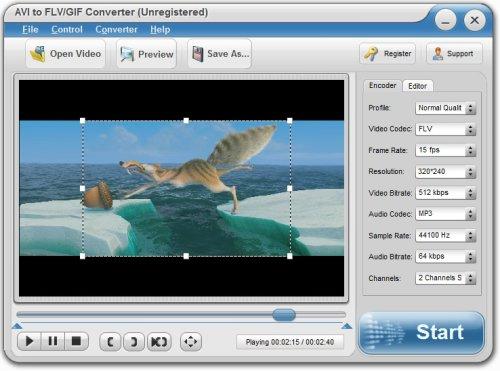 Capture d'écran AVI to FLV/GIF Converter