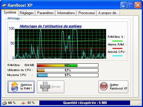 Capture d'écran RamBoost XP