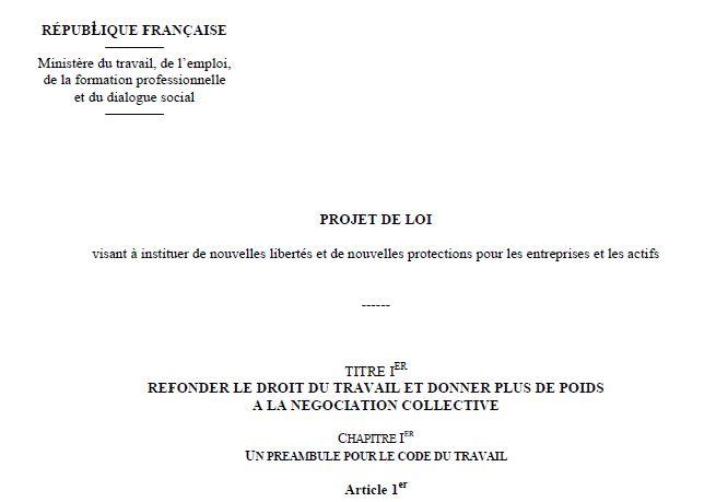 Capture d'écran Projet de Loi Travail El Khomri