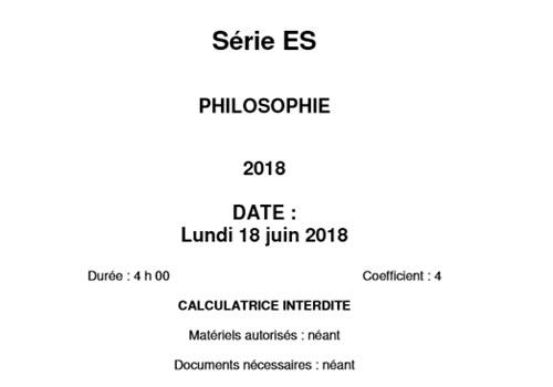 Capture d'écran Bac 2018 Philosophie Série ES