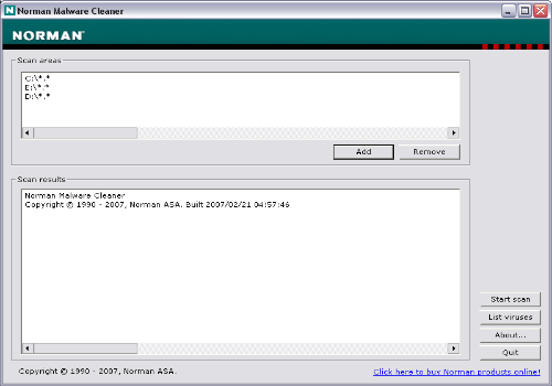Capture d'écran Norman Malware Cleaner