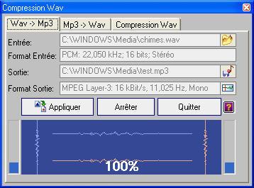 Capture d'écran Compression wav et codecs