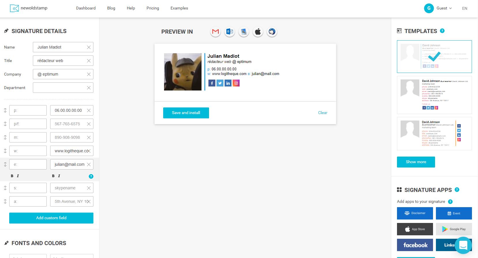 Capture d'écran Newoldstamp
