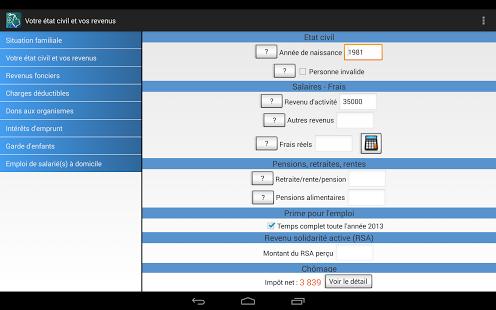 Capture d'écran Calcul Impôts 2014