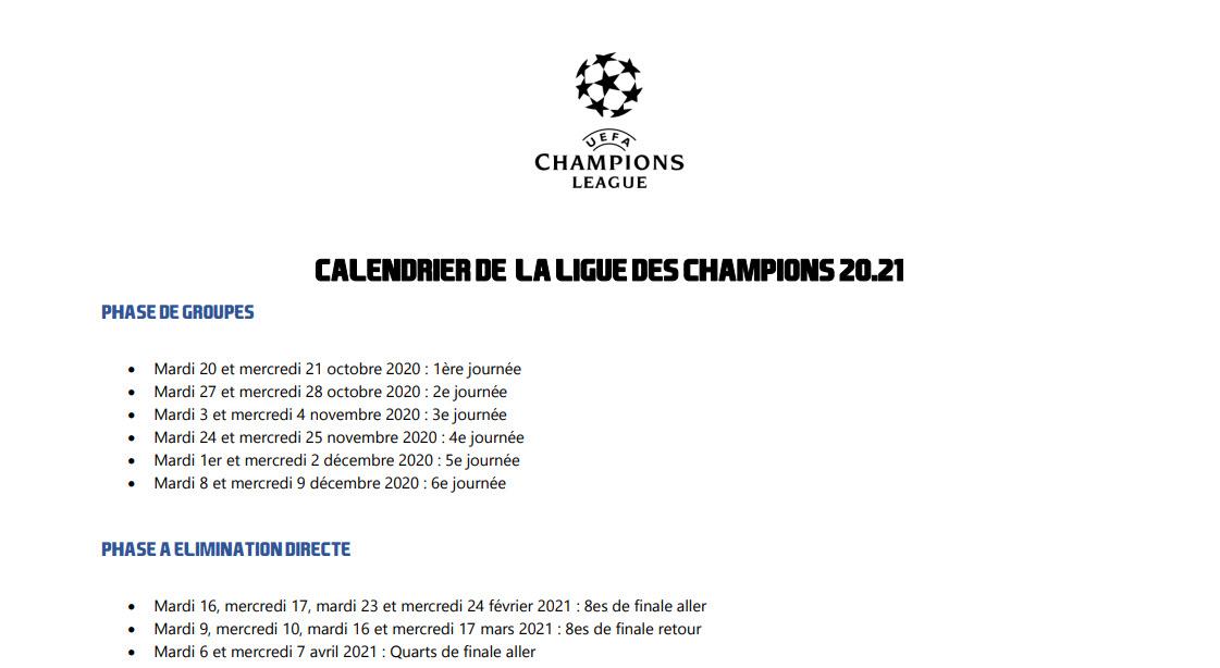 Capture d'écran Calendrier de la ligue des champions 2020/21