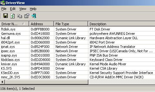 Capture d'écran DriverView