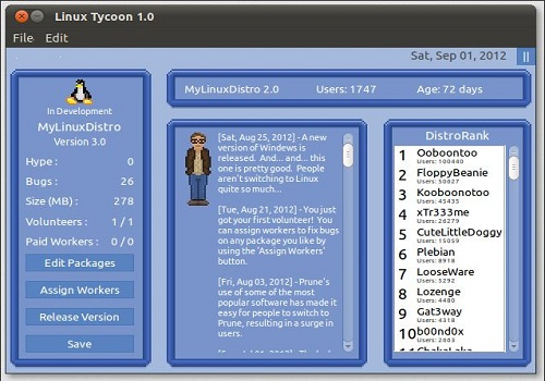 Capture d'écran Linux Tycoon