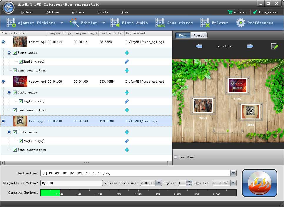 Capture d'écran AnyMP4 DVD Créateur