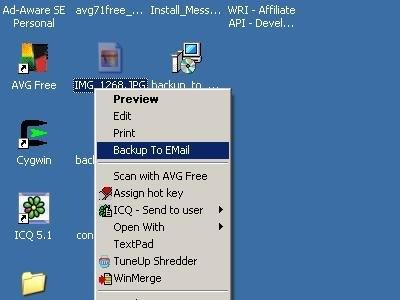 Capture d'écran Backup To EMail
