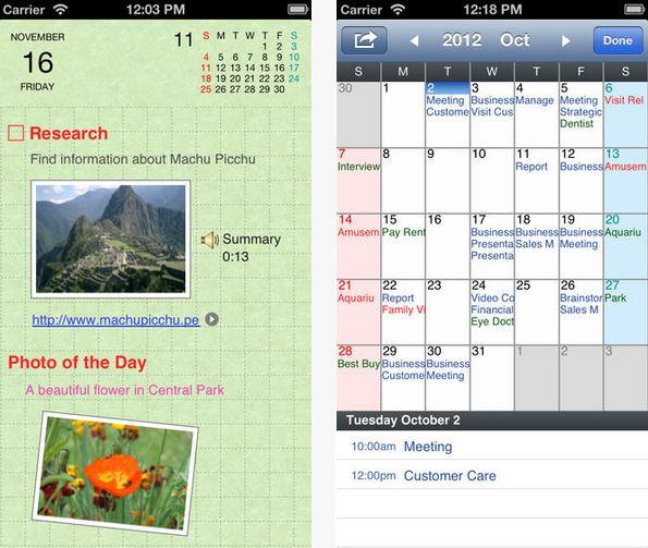 Capture d'écran Agenda Lite iOS