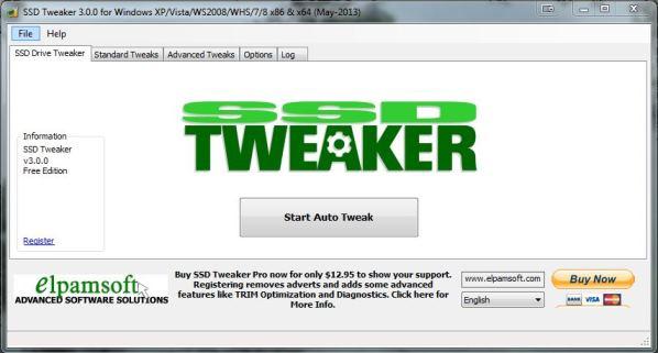 Capture d'écran SSD Tweaker