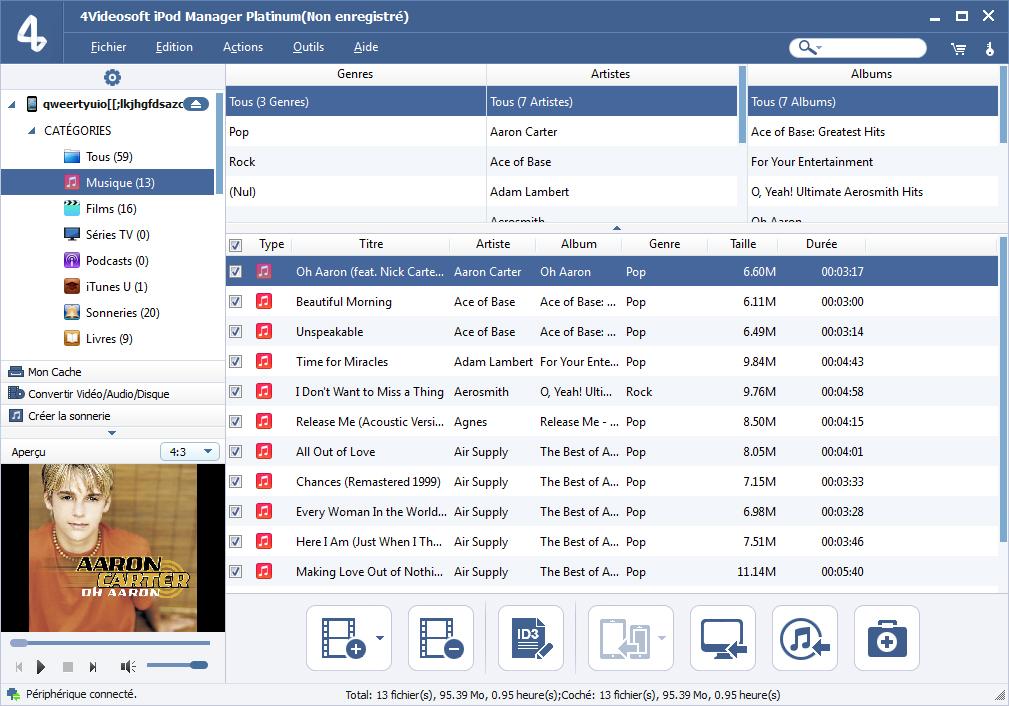 Capture d'écran 4Videosoft iPod Manager Platinum