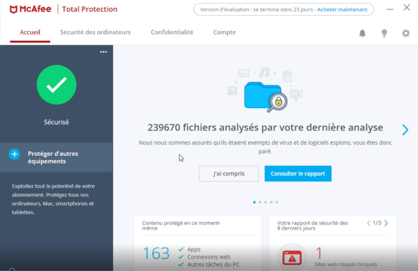Capture d'écran McAfee Total Protection