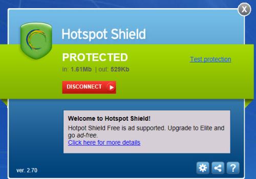 Capture d'écran Hotspot Shield
