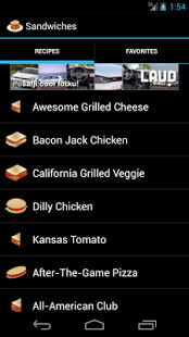 Capture d'écran Recettes Sandwich