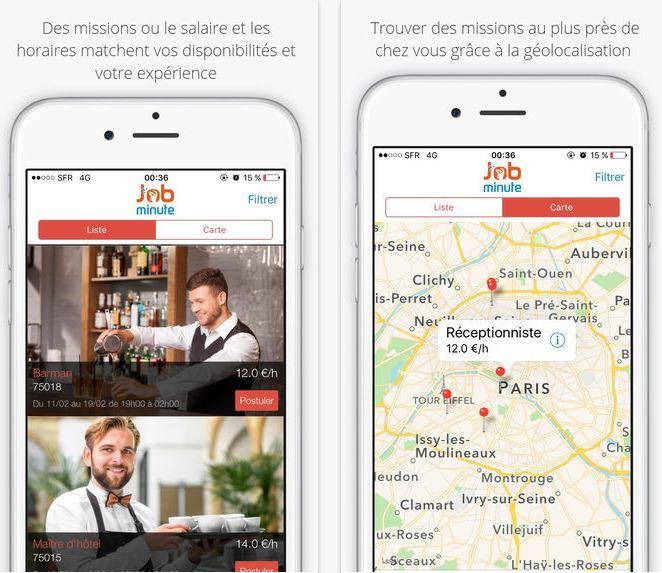 Capture d'écran Job Minute iOS