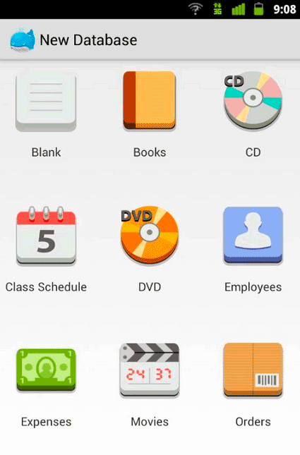 Capture d'écran MobiDB Database Designer