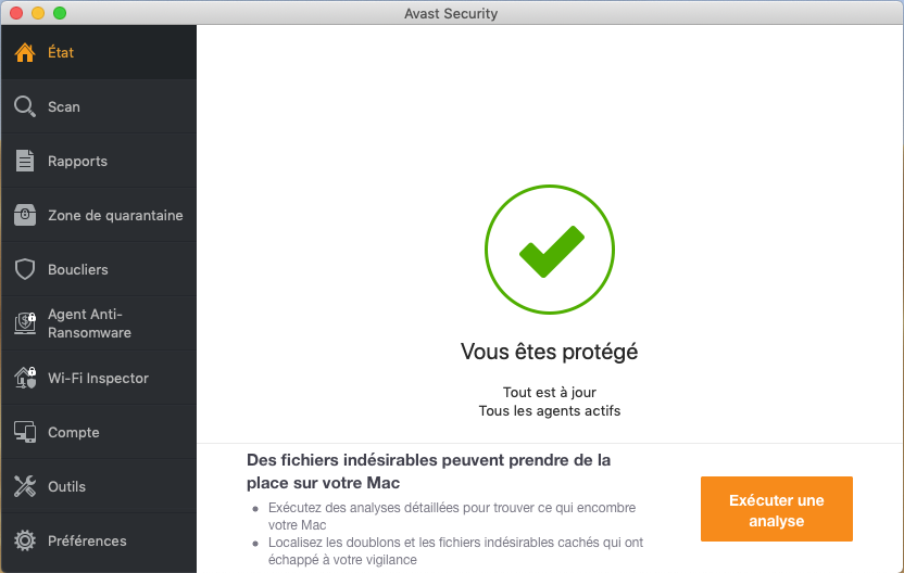 Capture d'écran Avast Security pour Mac