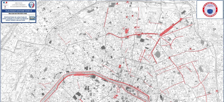 Capture d'écran Carte de Paris où le masque est obligatoire