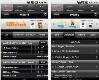 Capture d'écran ATP/WTA Live iOS
