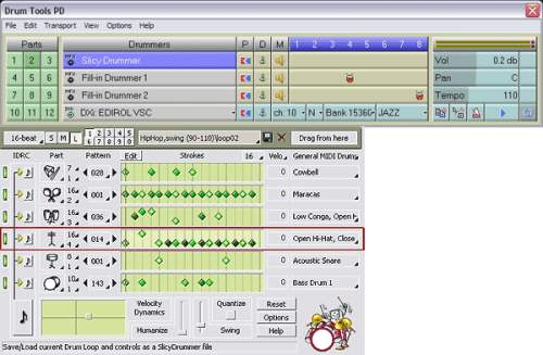 Capture d'écran DrumTools Performance Designer