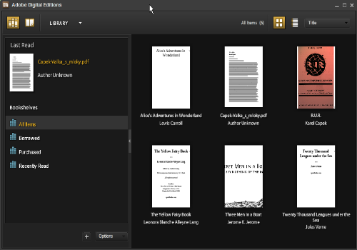 Capture d'écran Adobe Digital Editions