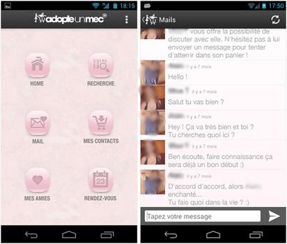 Capture d'écran AdopteUnMec Android