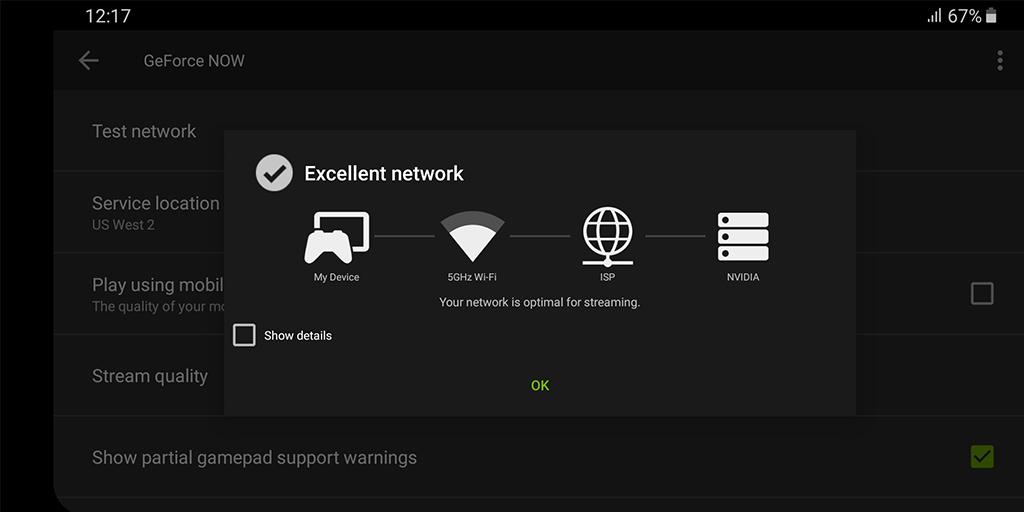 Capture d'écran GeForce Now Android