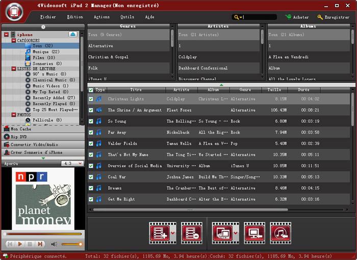 Capture d'écran 4Videosoft iPad 2 Manager