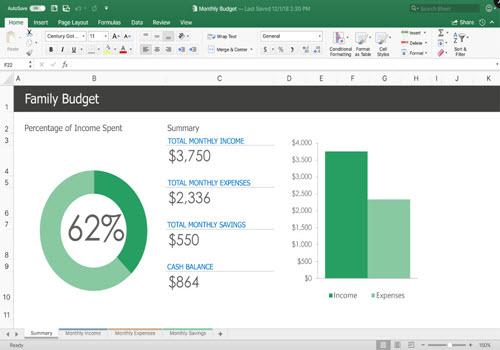 Capture d'écran Microsoft Excel 2019
