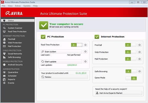 Capture d'écran Avira Ultimate Protection Suite 2016