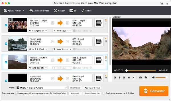 Capture d'écran Aiseesoft Convertisseur Vidéo pour Mac