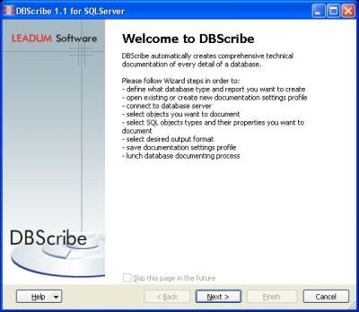 Capture d'écran DBScribe for SQL Server