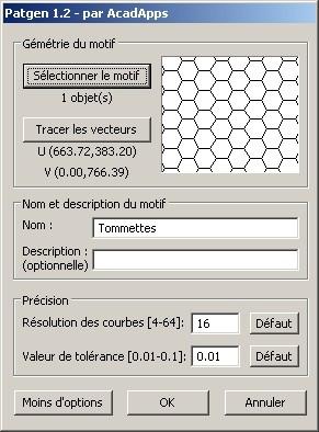 Capture d'écran PatGen pour AutoCAD 2007/2008