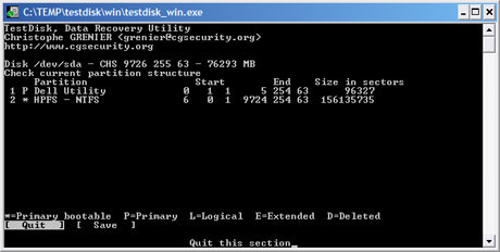 Capture d'écran TestDisk – Photorec