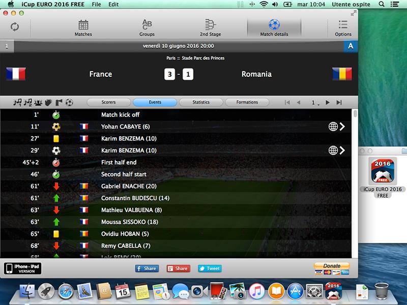 Capture d'écran iCup Euro 2016 Mac