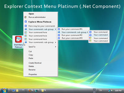 Capture d'écran Explorer Context Menu Platinum (.Net Component)