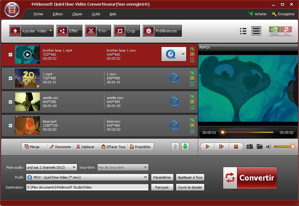 Capture d'écran 4Videosoft QuickTime Vidéo Convertisseur