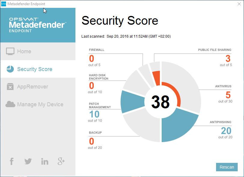 Capture d'écran Metadefender Endpoint (OPSWAT GEARS)