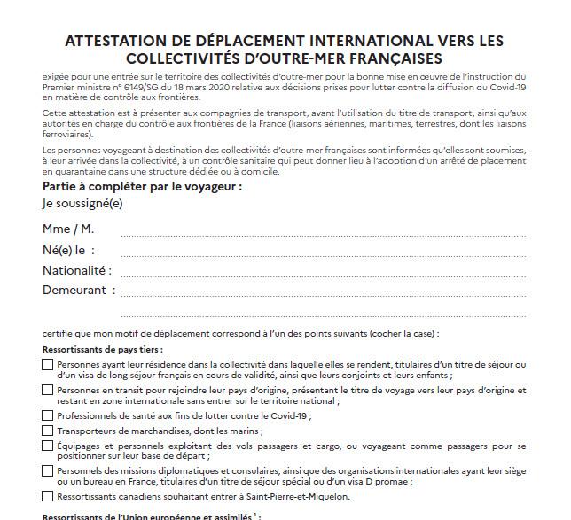 Capture d'écran Attestation de déplacement international vers les collectivités d'Outre-Mer françaises