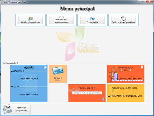 Capture d'écran GBE (La gestion du bien-être)