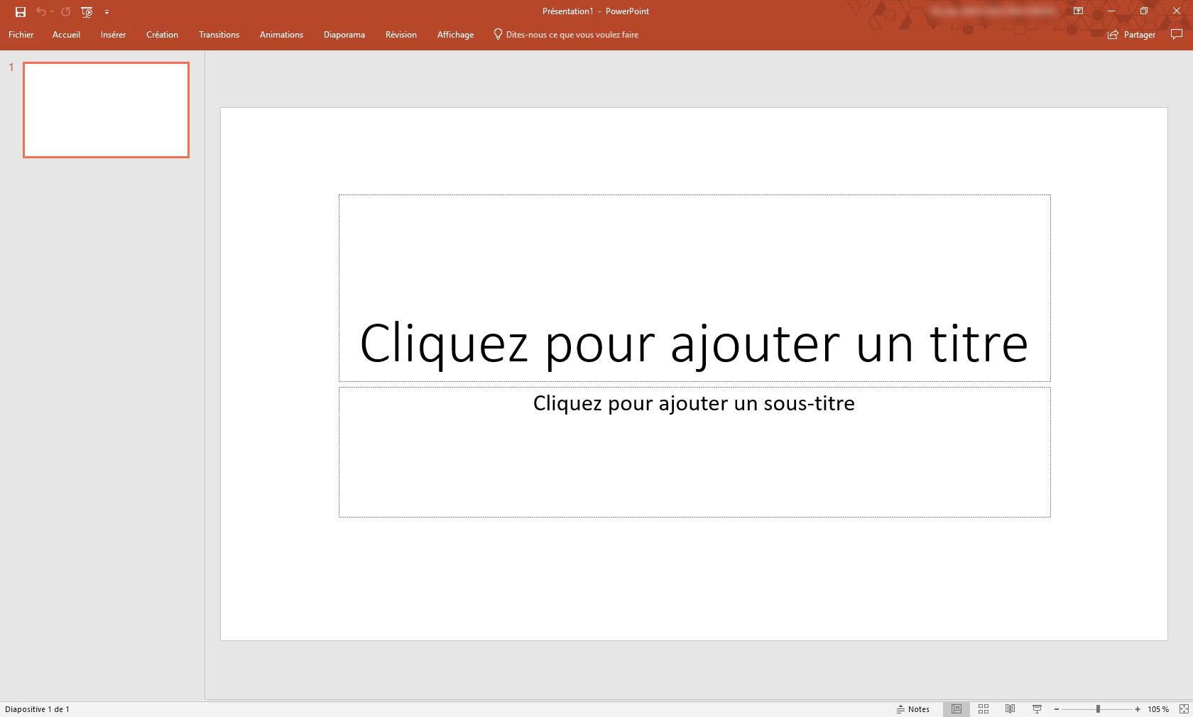 Capture d'écran Microsoft PowerPoint 2019