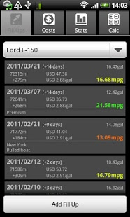 Capture d'écran FuelLog – Car Management