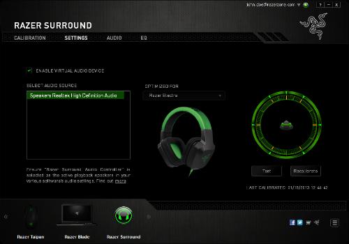 Capture d'écran Razer Surround
